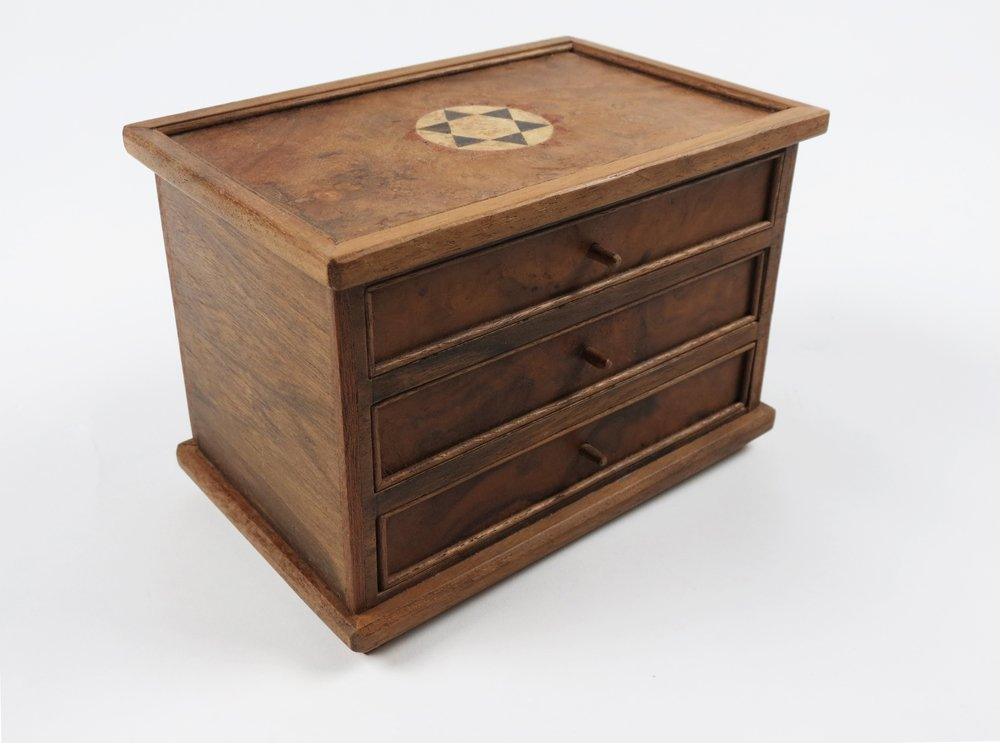 Jewellery box with two drawers and top compartment