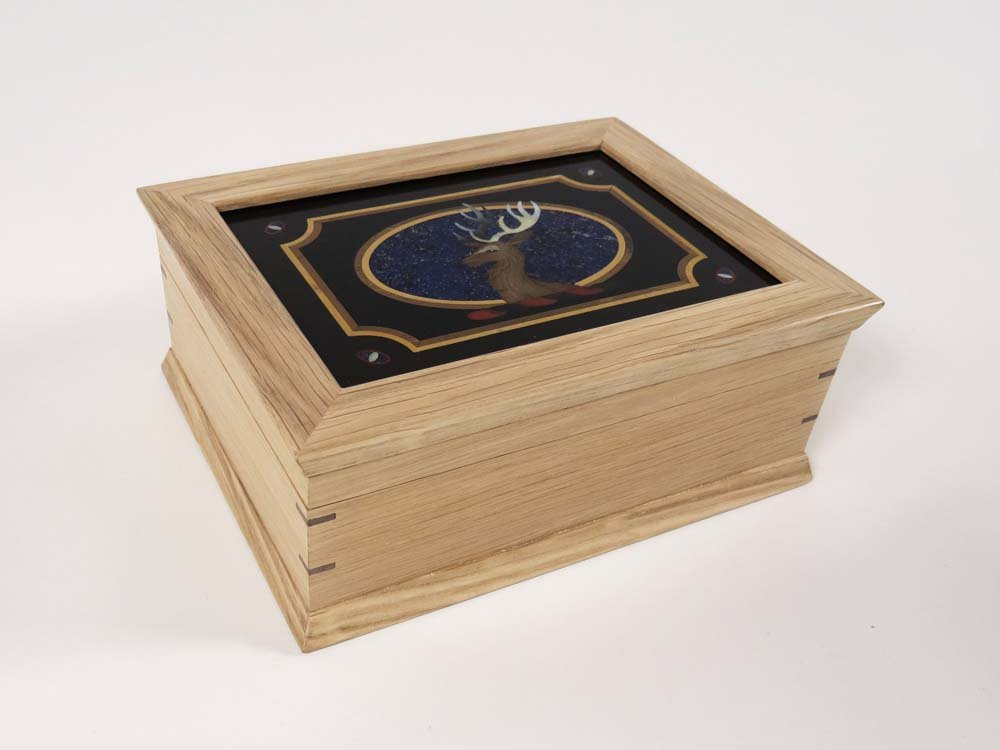 Jewellery box made from oak with Pietra Dura lid panel by Aline Marion