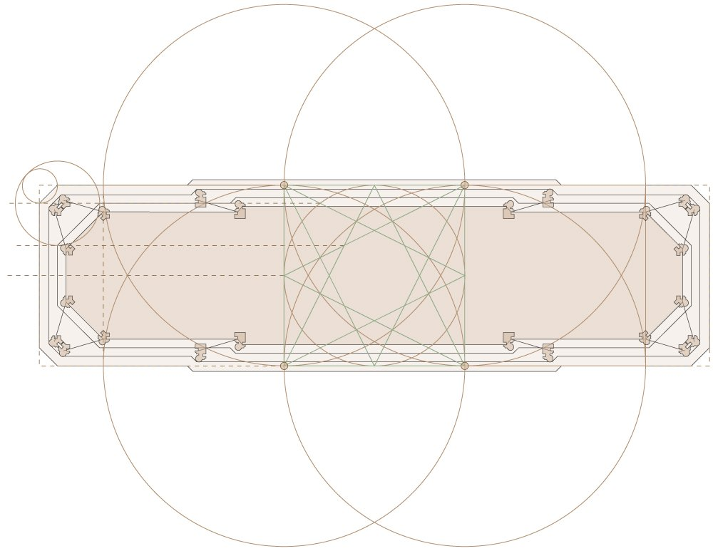 Geometric drawing of the top view of the plinth