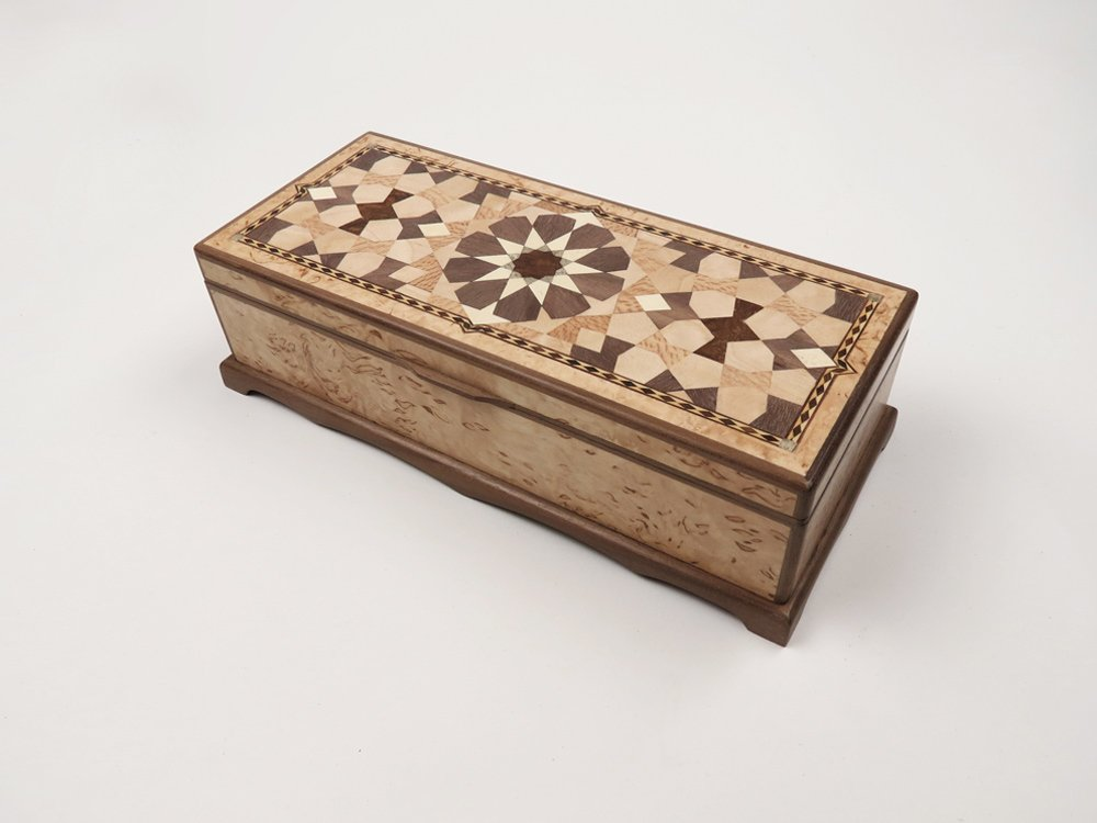 Jewellery box with Masur Birch veneer and tenfold parquetry pattern