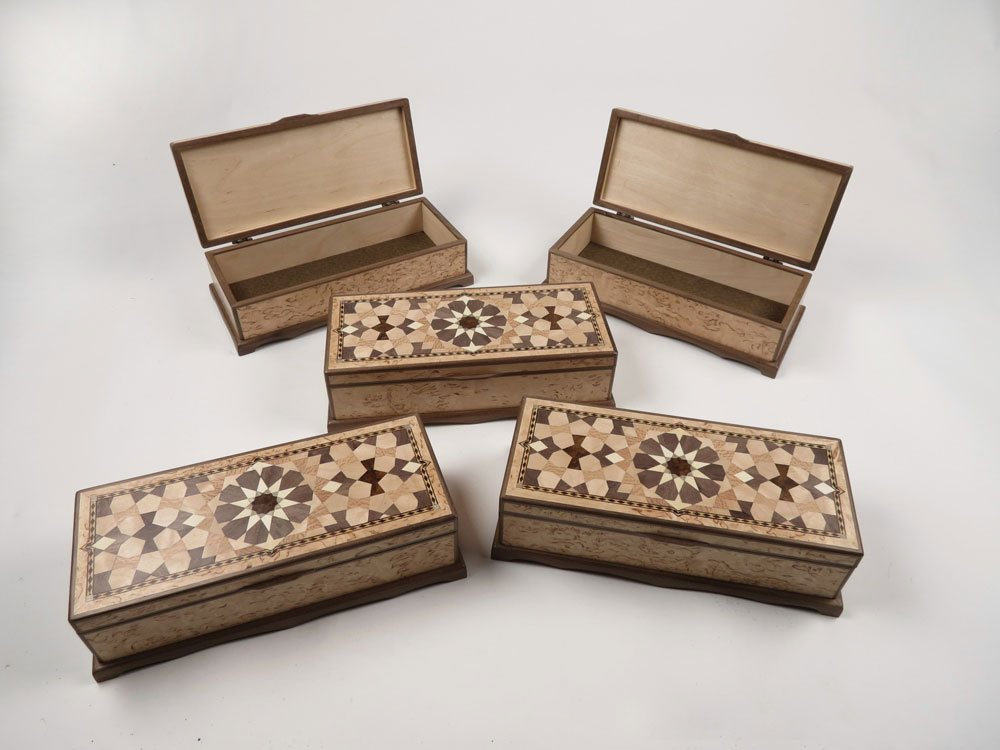 Jewellery boxes with Masur Birch veneer and tenfold parquetry pattern