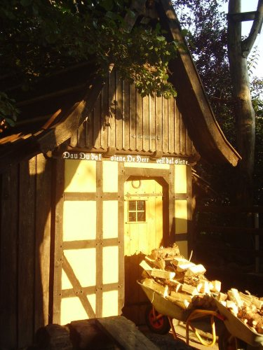 The front of the shelter in evening sunlight